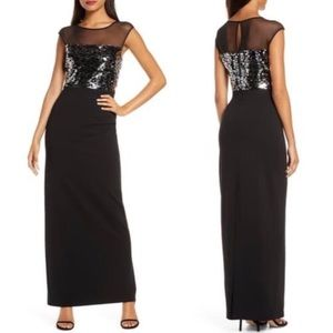 NWT VINCE CAMUTO SEQUIN &MESH BODICE COLUMN GOWN
